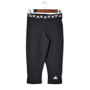 Adidias Black & White Cropped Athletic Leggings